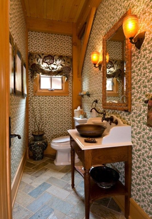 Mazama Country Inn for a Traditional Powder Room with a Pottery and Vermont Timber Frame Residence by Laurel Feldman Interiors, Iida