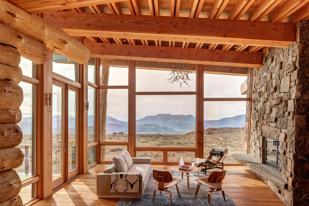 Mcdowell Mountain Ranch for a Rustic Living Room with a Window Wall and Wolf Creek Ranch by Shubin + Donaldson Architects, Inc.
