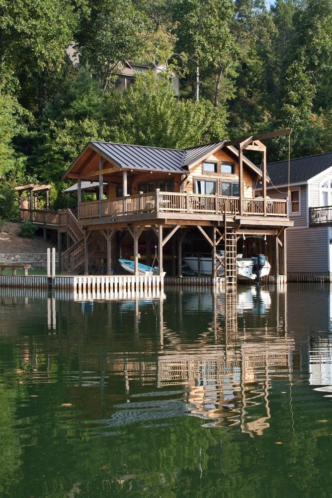 Mcloone's Pier House for a Craftsman Exterior with a Wooden Lake House and Boathouse by Scott W Bartholomew Architecture