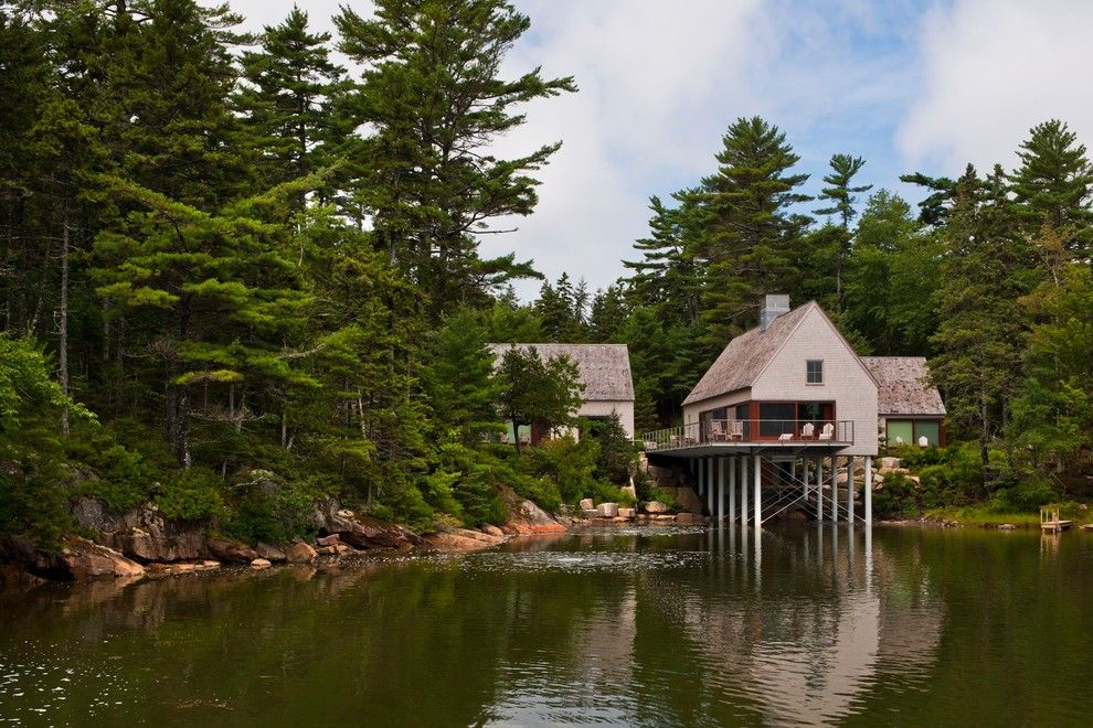 Mcloone's Pier House for a Transitional Exterior with a Secluded and Pond House by Elliott + Elliott Architecture