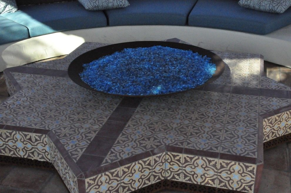 Mecca Furniture for a Mediterranean Patio with a Star and Hookah Room by Jeffrey Gordon Smith Landscape Architecture