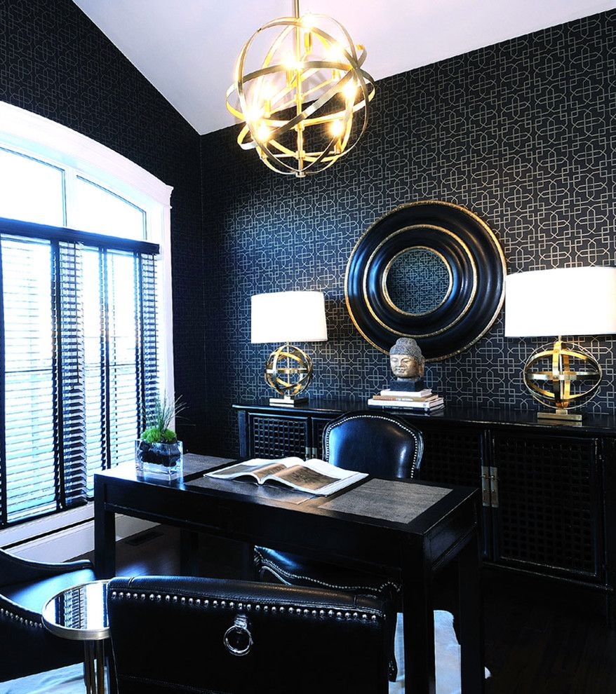 Medallion Homes for a Contemporary Home Office with a Leather Desk Chair and 2011 Hhl Den by Atmosphere Interior Design Inc.