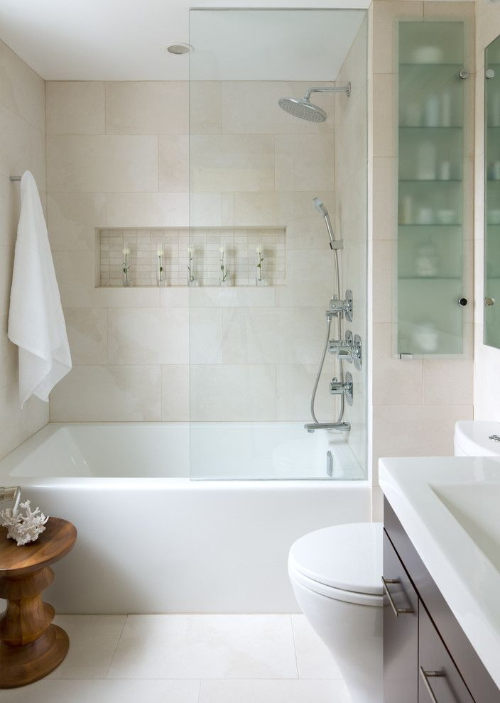 Melrose Discount Furniture for a Contemporary Bathroom with a Shower Shelf and Small Space Bathroom by Toronto Interior Design Group   Yanic Simard