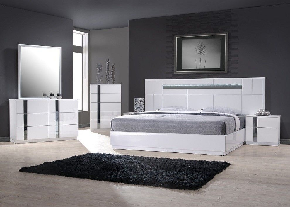 Melrose Discount Furniture for a Modern Bedroom with a Bedroom Sets and J&M Furniture Palermo Bedroom Set in White Lacquer and Chrome by Quality Furniture Discounts