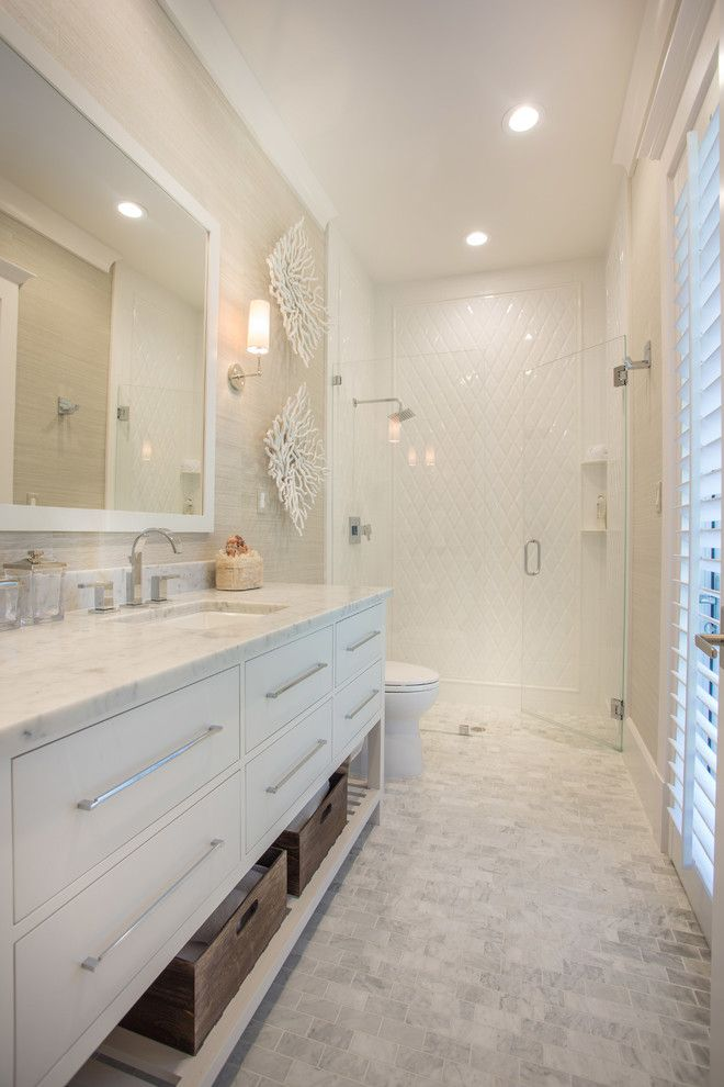 Melrose Discount Furniture for a Transitional Bathroom with a Glass Shower Doors and Luxurious Getaway at the Floridian Golf and Yacht Club by Pineapple House Interior Design
