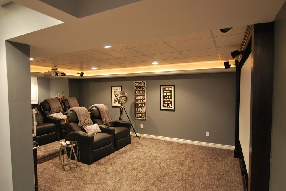 Meridian Movie Theater for a Contemporary Basement with a Contemporary and Macomb Twp Basement by Plan 2 Finish, Inc.