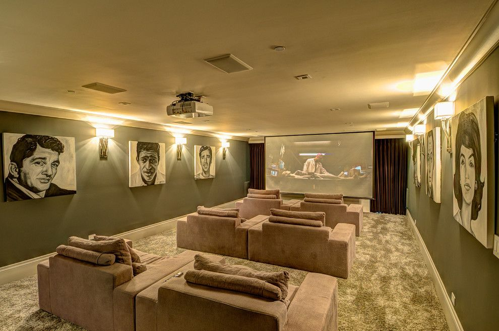 Meridian Movie Theater for a Contemporary Home Theater with a Beige Armchair and Contemporary Media Room by houzz.com