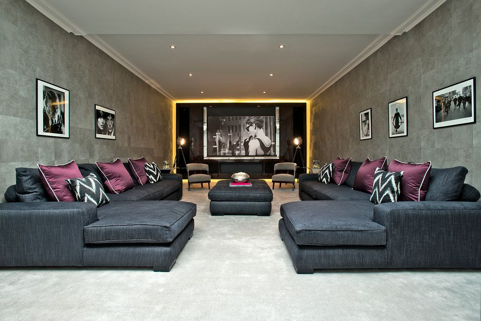 Meridian Movie Theater for a Contemporary Home Theater with a U Shaped Sofa and Upper Wimpole Street | Marylebone | W1g by Accoutergroup