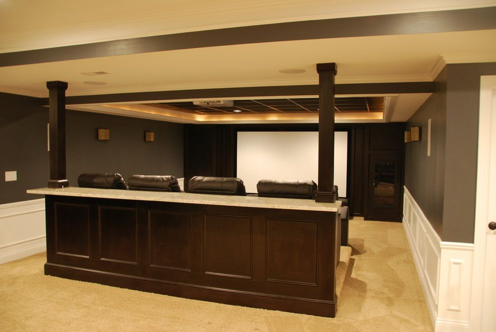 Meridian Movie Theater for a Traditional Basement with a Traditional and Patrick Basement by Plan 2 Finish, Inc.