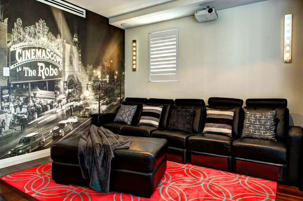 Meridian Movie Theater for a Transitional Home Theater with a Home Theater and Project Pymble by Splendour Interiors
