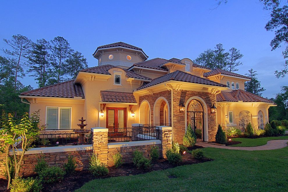Meritage Homes Houston for a Mediterranean Exterior with a Exterior Stone and Croix Custom Homes by Croix Custom Homes
