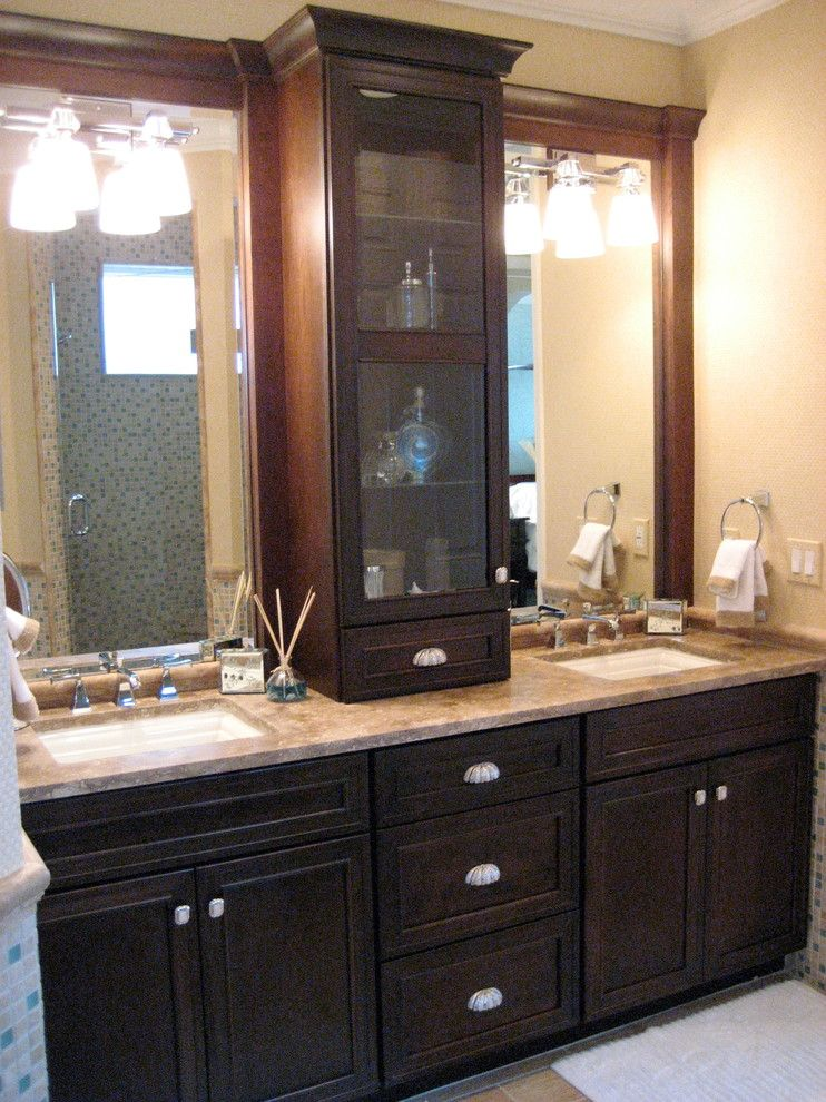 Meritage Homes Orlando for a Beach Style Bathroom with a Dark Wood Bathroom and Private Residence Designer Home by Juliano Interior Design