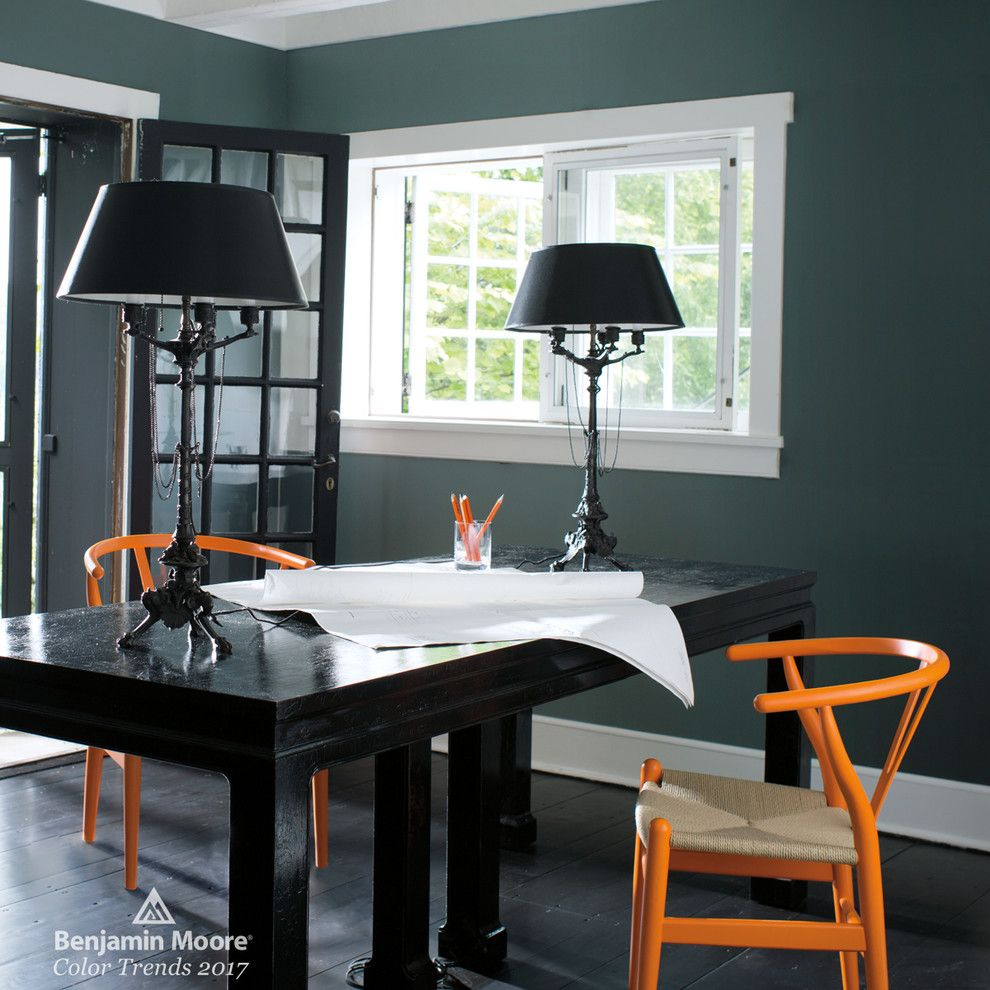 Mesko Glass for a Contemporary Home Office with a Black Desk and Benjamin Moore by Benjamin Moore