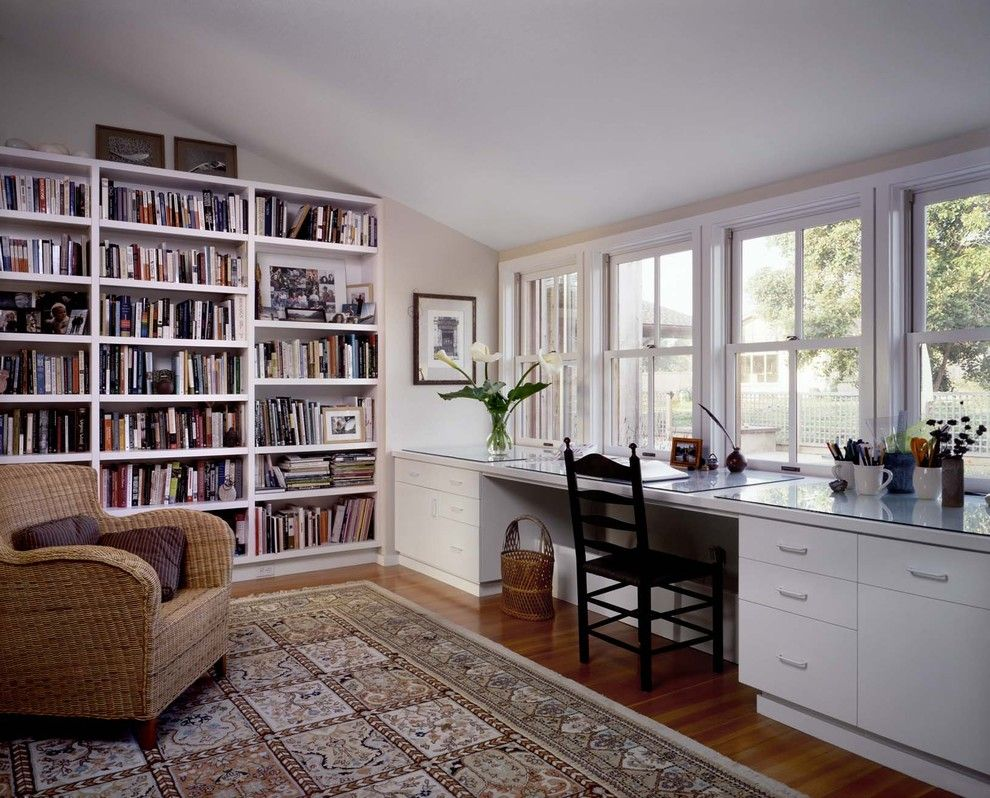 Mesko Glass for a Contemporary Home Office with a Built in Bookcase and Pescadero House by Cathy Schwabe Architecture