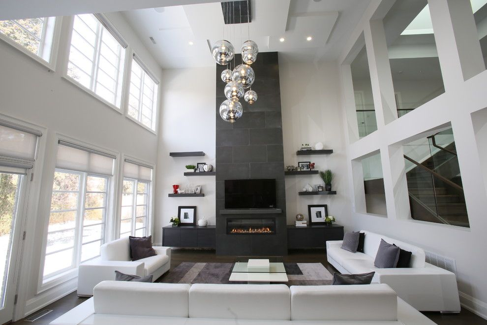 Meteor Lighting for a Contemporary Family Room with a Contemporary and Bayview & York Mills Modern by Carey Mudford Interior Design