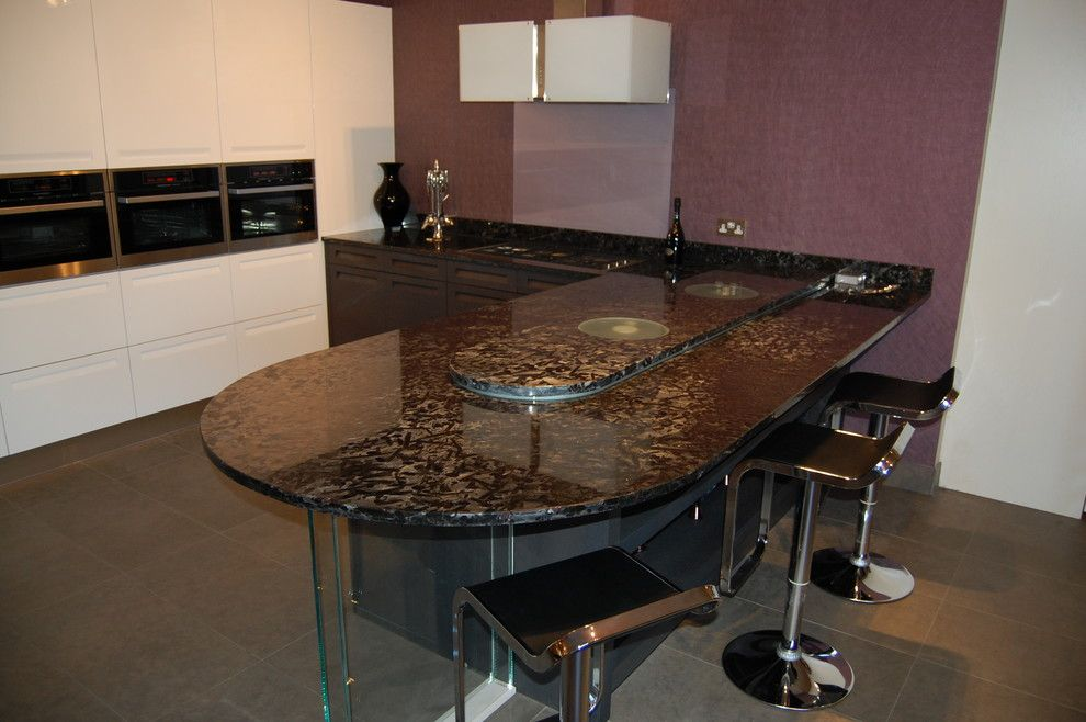 Meteor Lighting for a Contemporary Kitchen with a Feature Inset Led Strip Lights and Meteorus Granite Worktop by Ogle, Luxury Kitchens, Bathrooms & Stonework