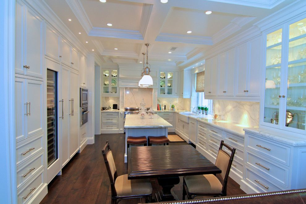 Meteor Lighting for a  Kitchen with a White Countertop and Thermador by Thermador Home Appliances