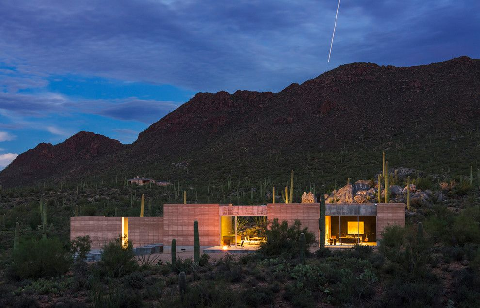 Meteor Lighting for a Modern Exterior with a Ceiling Shower Head and Tucson Mountain Retreat by Dust