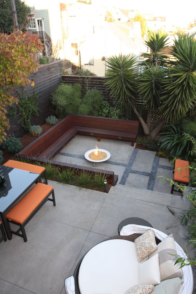 Meteor Lighting for a Modern Patio with a Terrace and Potreo Hill Modern by Outer Space Landscape Architecture
