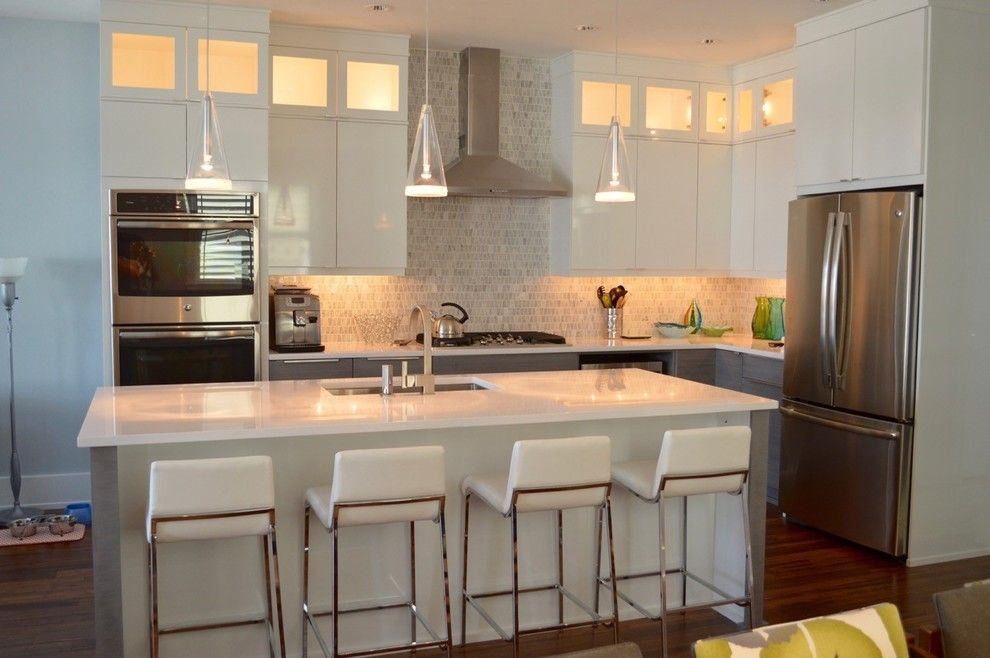 Meyer Appliance for a Modern Kitchen with a Island Pendant Lighting and Modern Kitchen   Two Tone Cabinets by Kitchen Encounters Design