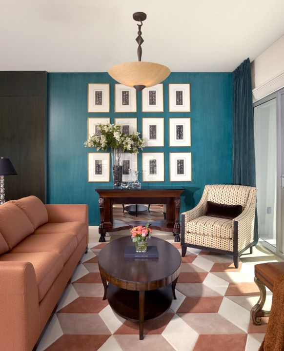 Miami Velvets for a Contemporary Living Room with a Graphic Flooring and Aqua Residence, Miami Beach, Fl by Chambray Avenue, Llc