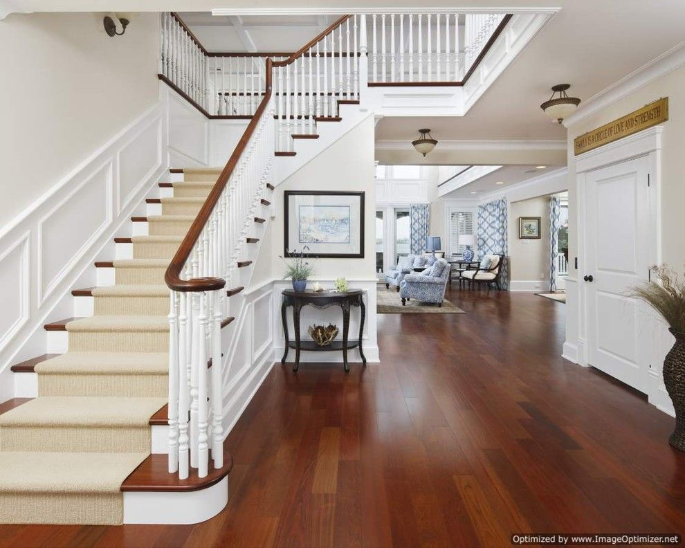 Michaels Flooring for a Traditional Staircase with a Library Paneling and Michael Pagnotta Architecture + Construction by Michael Pagnotta Architects Pc