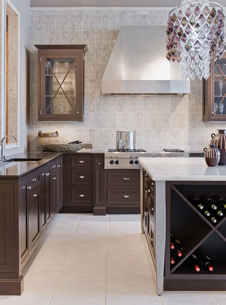 Michaels Flooring for a Transitional Kitchen with a Dark Wood and Le Metro by Venegas and Company