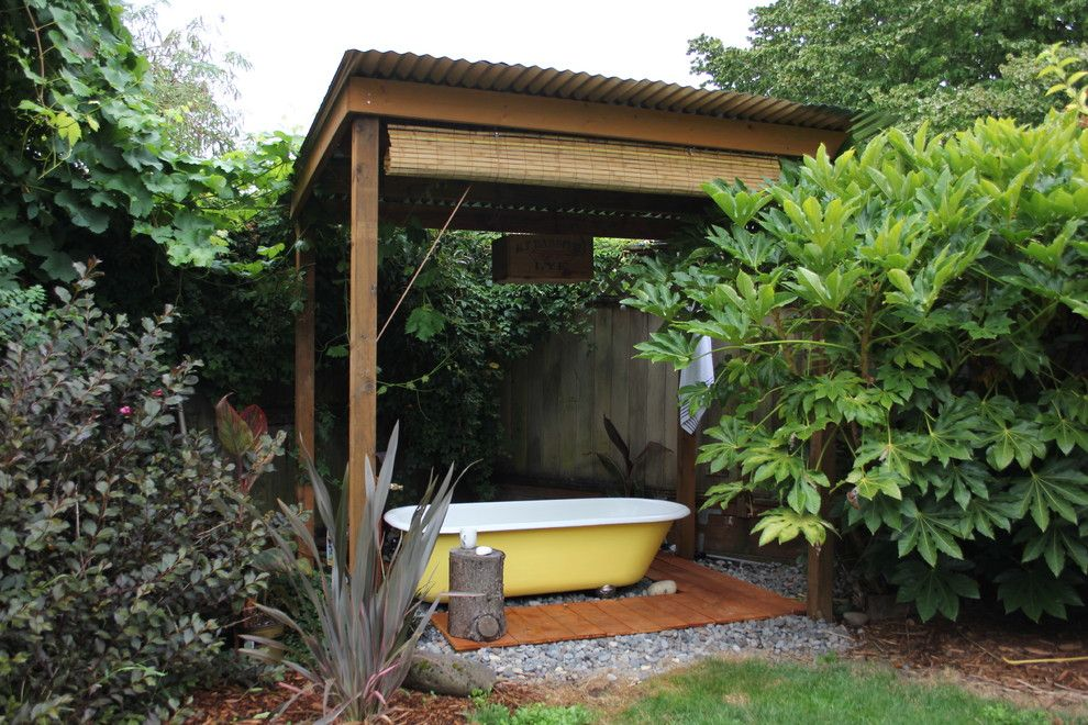 Midtown Arbor Place for a Eclectic Patio with a Bath and Backyard Bath House by Swelldone