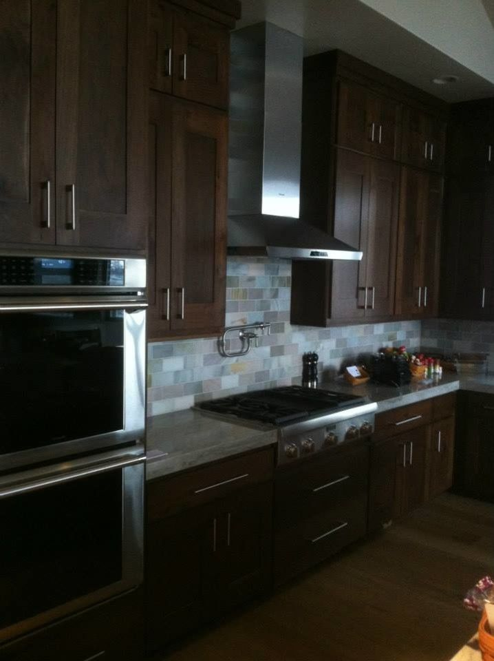 Midwest Appliance for a  Kitchen with a Tile Backsplash and Portfolio by Midwest Woodworks