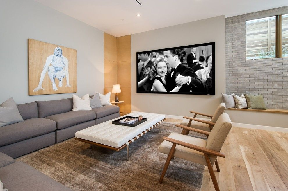 Mihomes for a Midcentury Home Theater with a Modern Coastal and Midcentury Home Theater by Buildingsanddesign.com