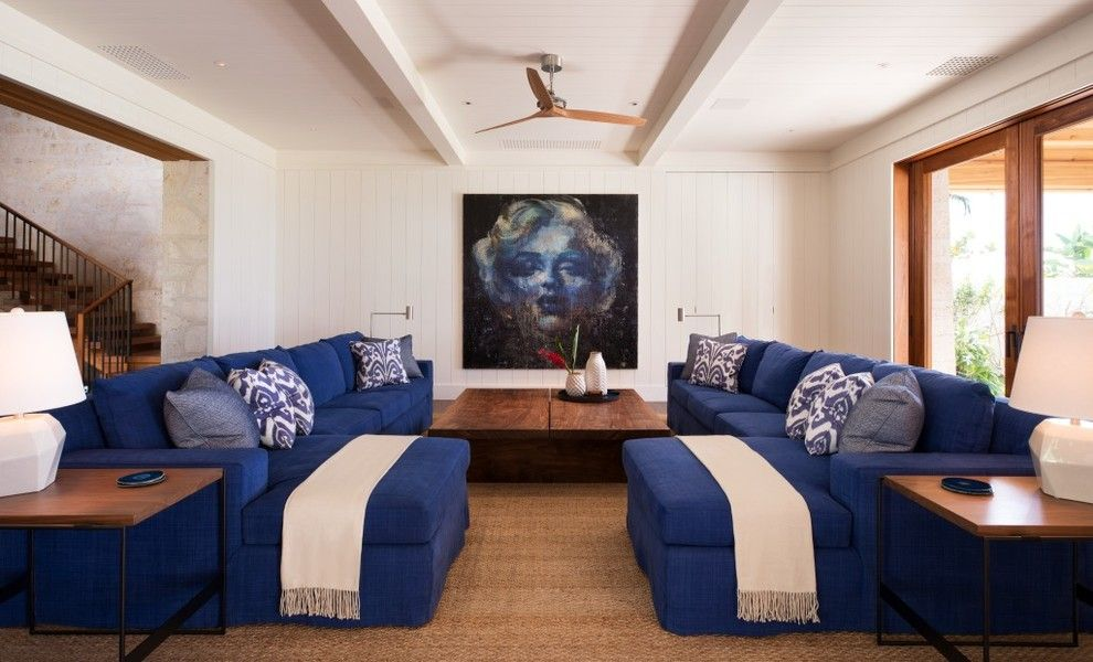 Mihomes for a Tropical Living Room with a Tropical and Maui Residence by April Powers Interior Design