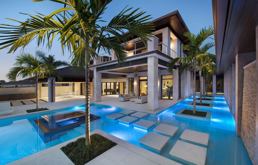 Mihomes for a Tropical Pool with a Cable Railing and Private Residence, the Estuary, Naples, Fl by Harwick Homes