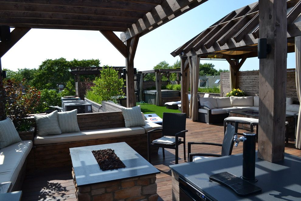 Mikes Furniture Chicago for a Transitional Deck with a Indoor Outdoor and Entertainer's Dream by Chicago Roof Deck & Garden