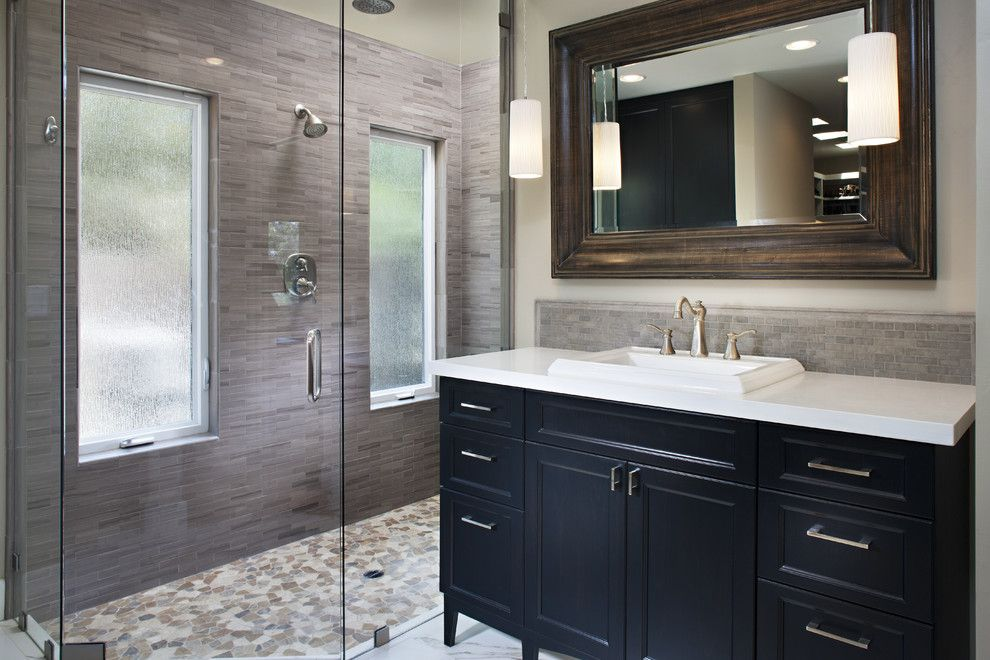 Milgard Tuscany for a Contemporary Bathroom with a Frameless Shower and San Lucas Drive by Tracy Lynn Studio