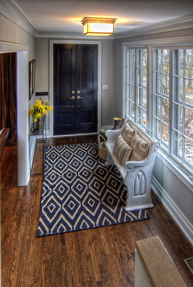 Milgard Tuscany for a Traditional Entry with a Diamond Rug and Victoria Residence by Kate Marker Interiors