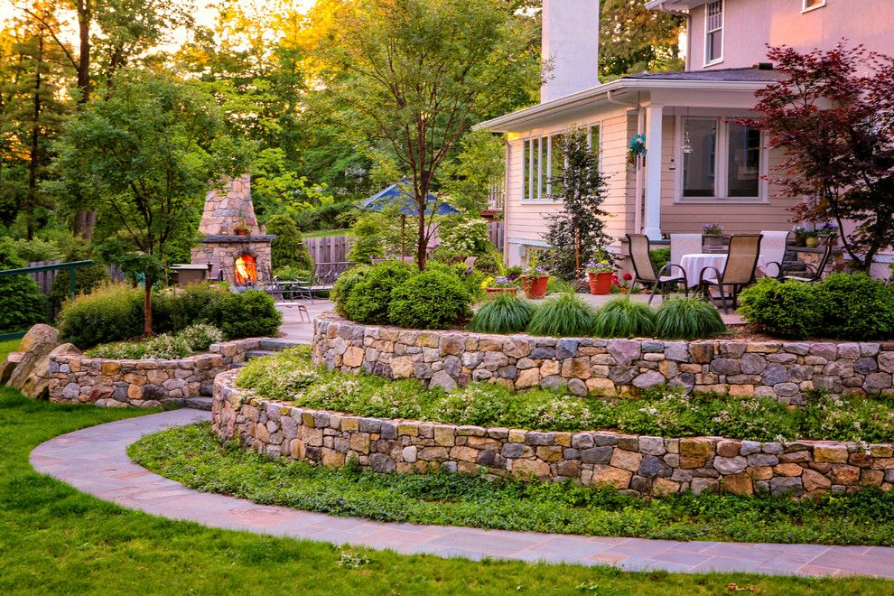 Millington Nj for a Traditional Landscape with a Traditional and Millington Nj, Raised Bluestone Patio & Fireplace by Landscape Aesthetics, Inc