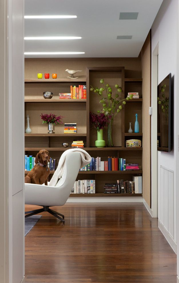 Minotti for a Contemporary Family Room with a Floating Shelving and Mpd Residence by Gne Architecture