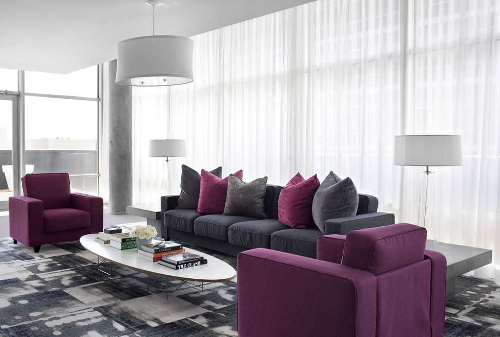 Minotti for a Contemporary Living Room with a Concrete Columns and Sky @ Midcity Lofts by Niki Papadopoulos