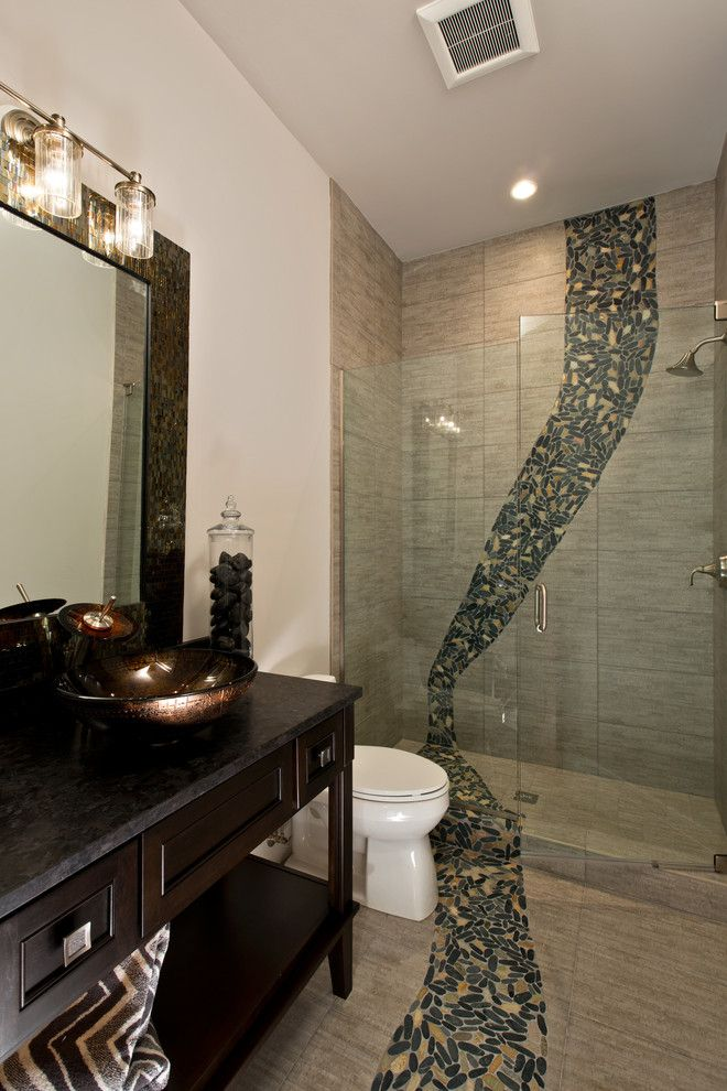 Miromar for a Modern Bathroom with a Lakefront Home and Private Residence, Miromar Lakes by Randall Perry Photography