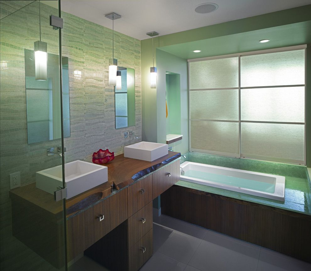 Modesto Steel for a Contemporary Bathroom with a Frameless Shower Door and Kenworthy Heights by Wascha Studios