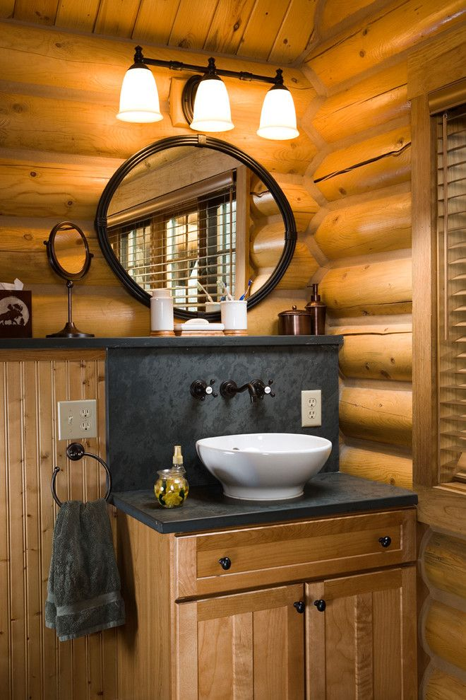 Moen Faucet Warranty for a Rustic Powder Room with a Towel Ring and Rocky Mountain Log Homes  Manchester Floor Plan by Rocky Mountain Homes