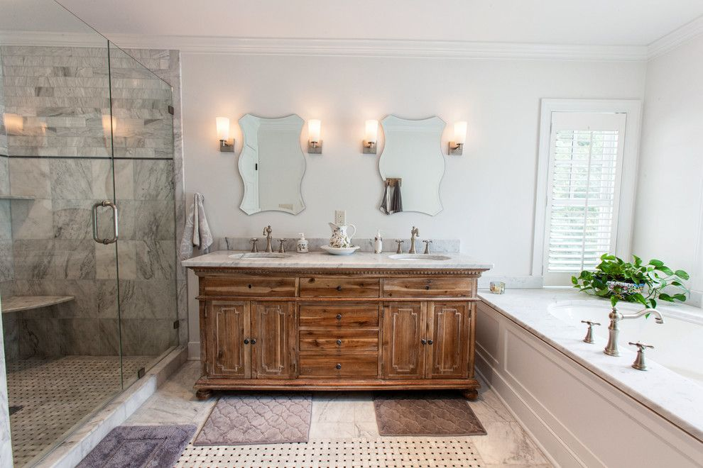 Moen Faucet Warranty for a Traditional Bathroom with a Widespread Faucet and Culpepper Road by Berg Building + Design