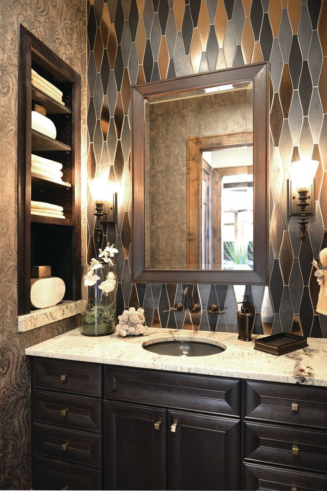 Moen Faucet Warranty for a Traditional Powder Room with a White Countertop and 2014 Idea Showhouse by Arteva Homes