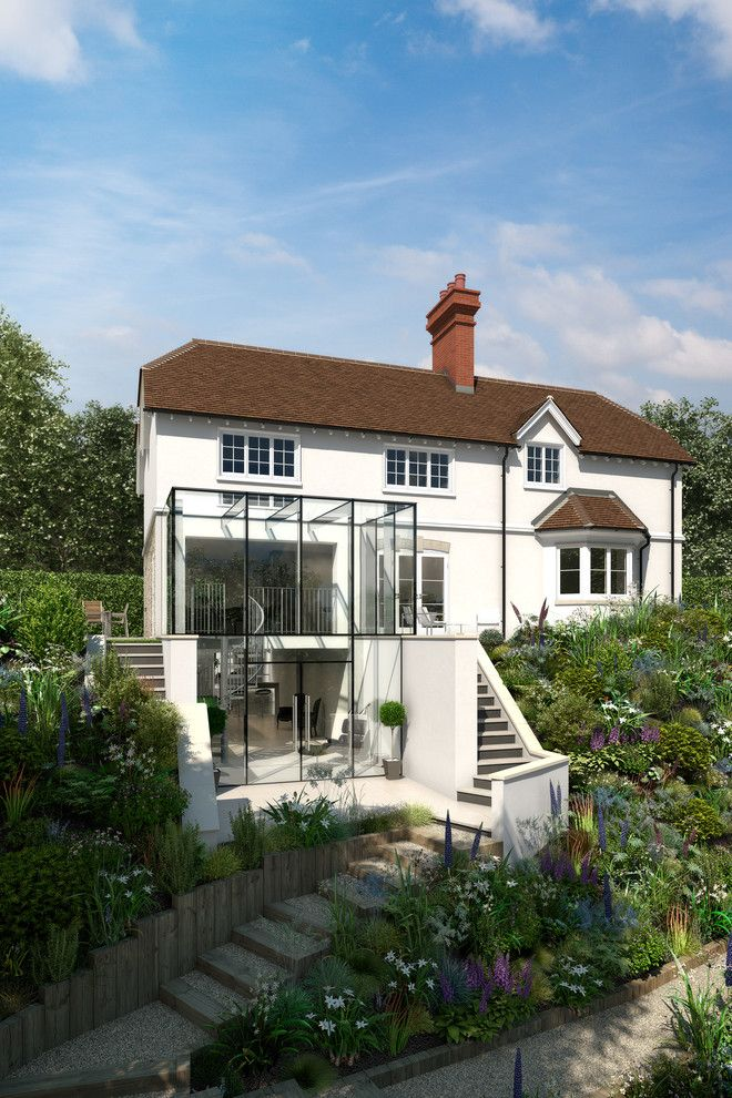 Monet's Garden for a Contemporary Exterior with a Glass Box Extension and Glass Box by Extended Design Architects