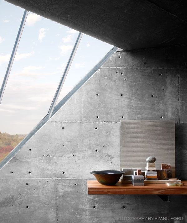 Monolithic Slab for a Industrial Home Office with a Concrete Texture and Concrete Studio by Mell Lawrence Architects