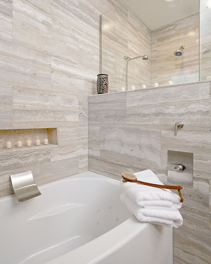 Monolithic Slab for a Modern Bathroom with a Glass Shower and Master Modern Remodel by in Detail Interiors