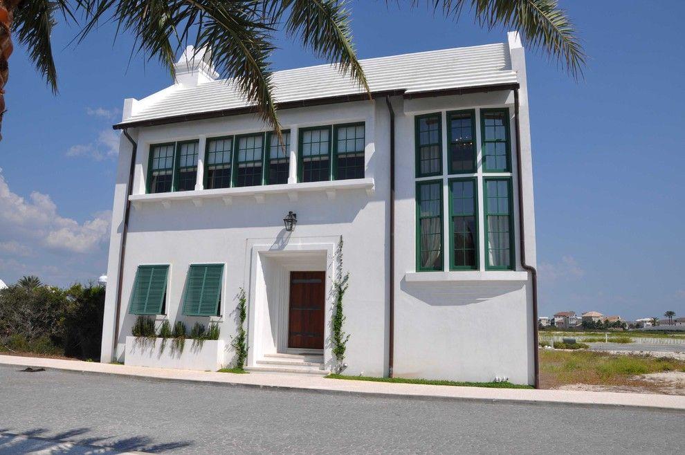 Montauk Beach House for a Beach Style Exterior with a Front Door and Beach Style Exterior by Ikba.com
