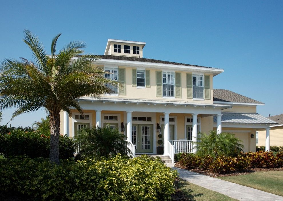 Montauk Beach House for a Tropical Exterior with a Shutters and Coastal Living Residence by Tweak Your Space
