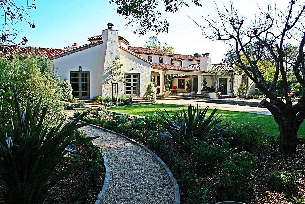 Montecito California for a Mediterranean Exterior with a Gravel Path and Montecito 1 by J. Grant Design Studio