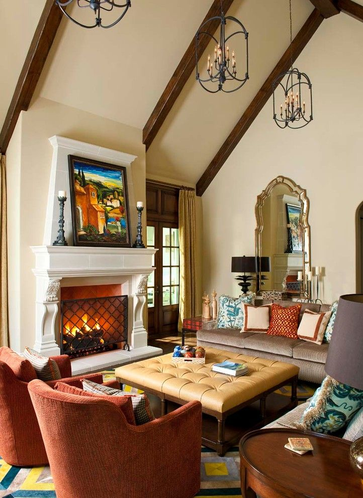 Moores Furniture for a Mediterranean Family Room with a Living and Creeks of Preston Hollow Residence by Astleford Interiors, Inc.